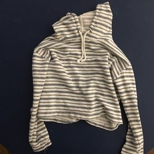FOREVER 21 Cropped Striped Hoddie